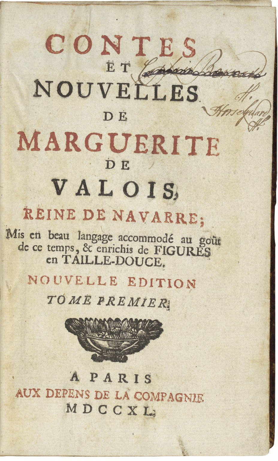 [Heptaméron] Contes et nouvelles / de Marguerite de Valois, reine de Navarre ; mis en beau langage accommodé au goût de ce temps, & enrichis de figures en taille-douce.