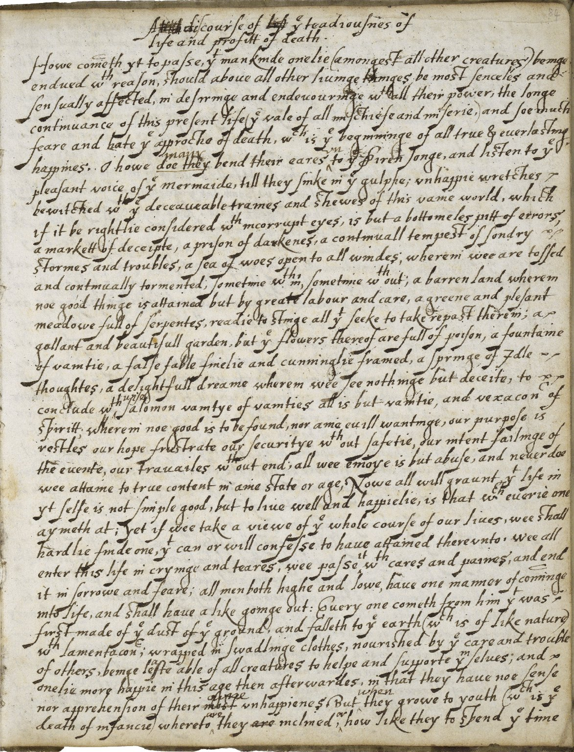 Instructions for my children, or any other Christian, directing to the performance of our duties, towardes God and Man, drawne out of the holy scripture [manuscript], 1606-ca. 1750.