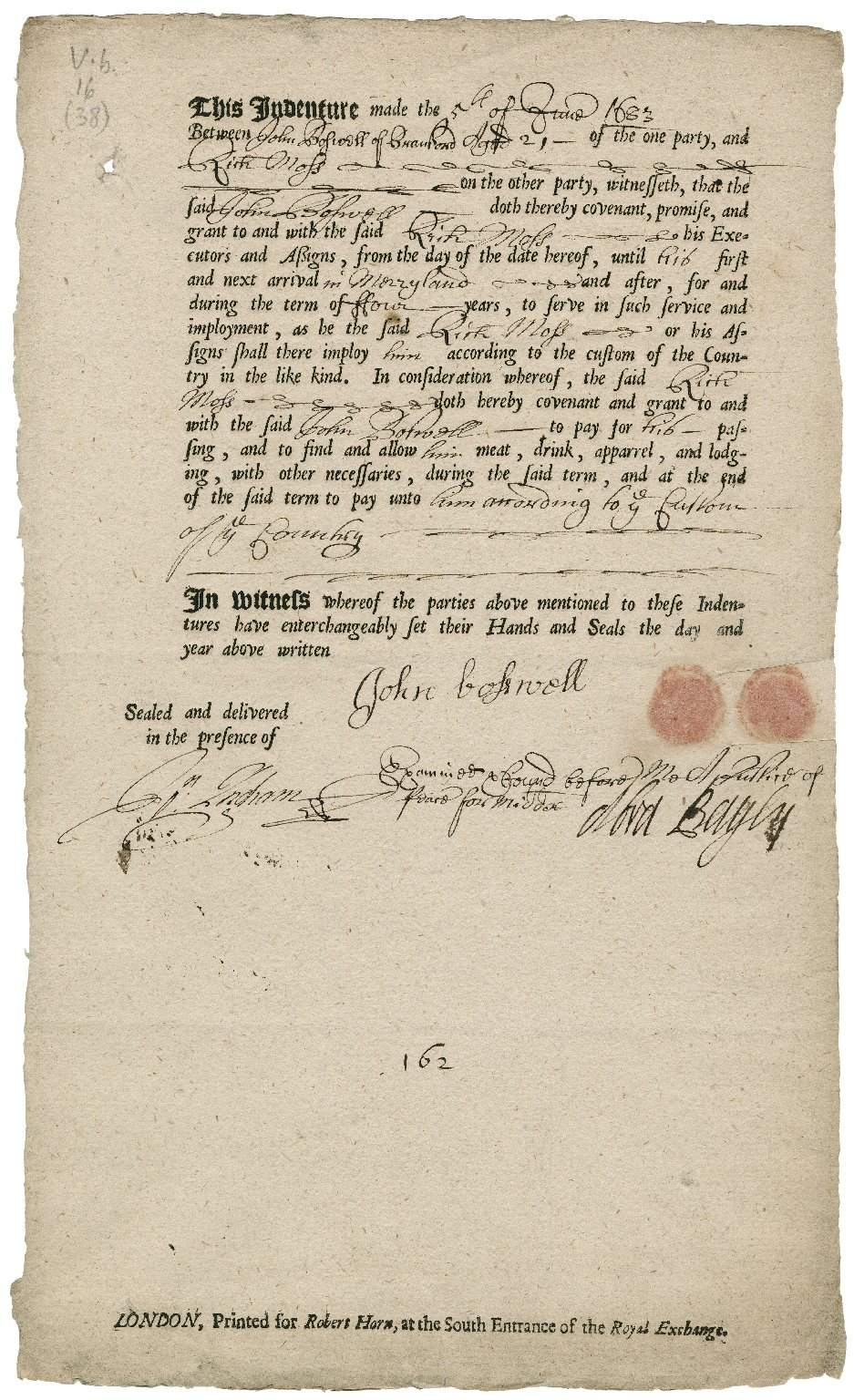 indentured servant contracts for the colonies of maryland