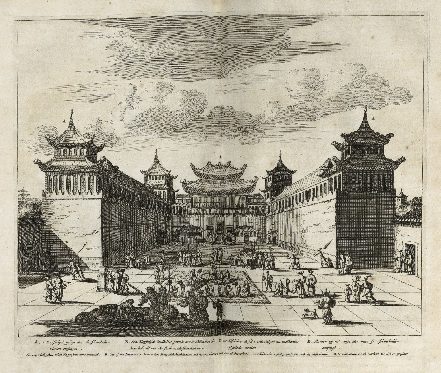 Atlas Chinensis: being a second part of a relation of remarkable passages in two embassies from the East-India Company of the United Provinces, to the vice-roy Singlamong and General Taising Lipovi, and to Konchi, Emperor of China and East-Tartary. With a relation of the Netherlanders assisting the Tartar against Coxinga, and the Chinese fleet, who till then were masters of the sea. And a more exact geographical description than formerly, both of the whole empire of China in general, and in particular of every of the fifteen provinces. Collected out of their several writings and journals, by Arnoldus Montanus. English'd, and adorn'd with above a hundred several sculptures, by John Ogilby, Esq; master of His Majesty's revels in the kingdom of Ireland.