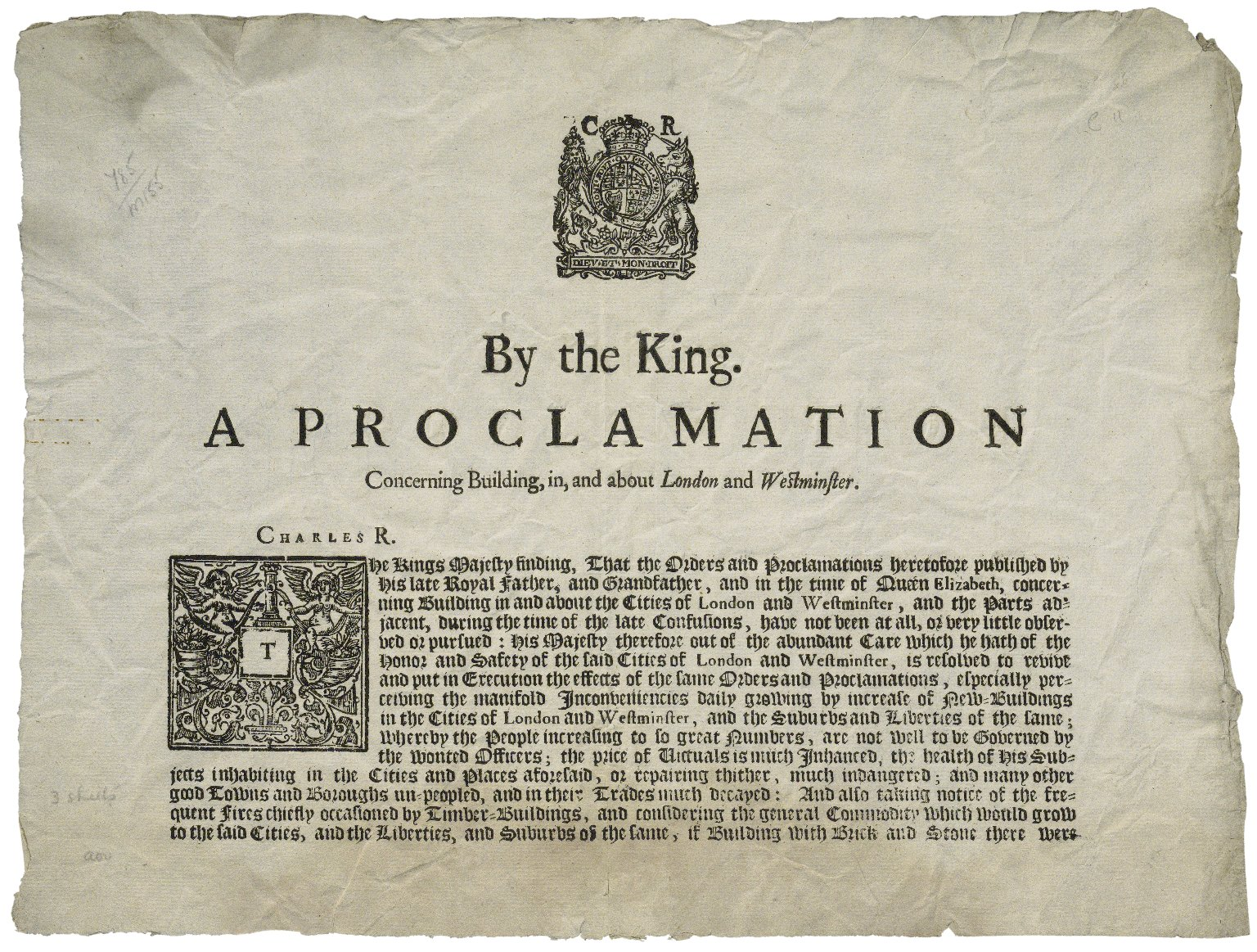 [Proclamations. 1661-08-16] By the King. A proclamation concerning building, in, and about London and Westminster.