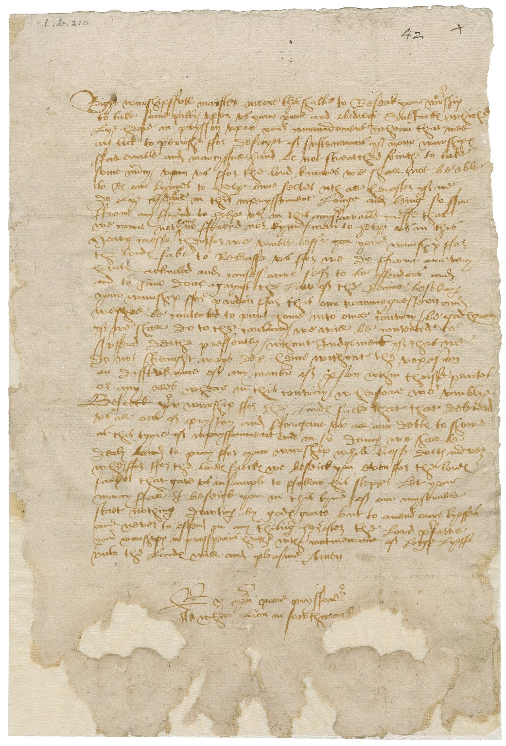 Southwark, England. White lion prison. Prisoners. A petition. To Sir William More at Loseley. White lion prison, Southwark.