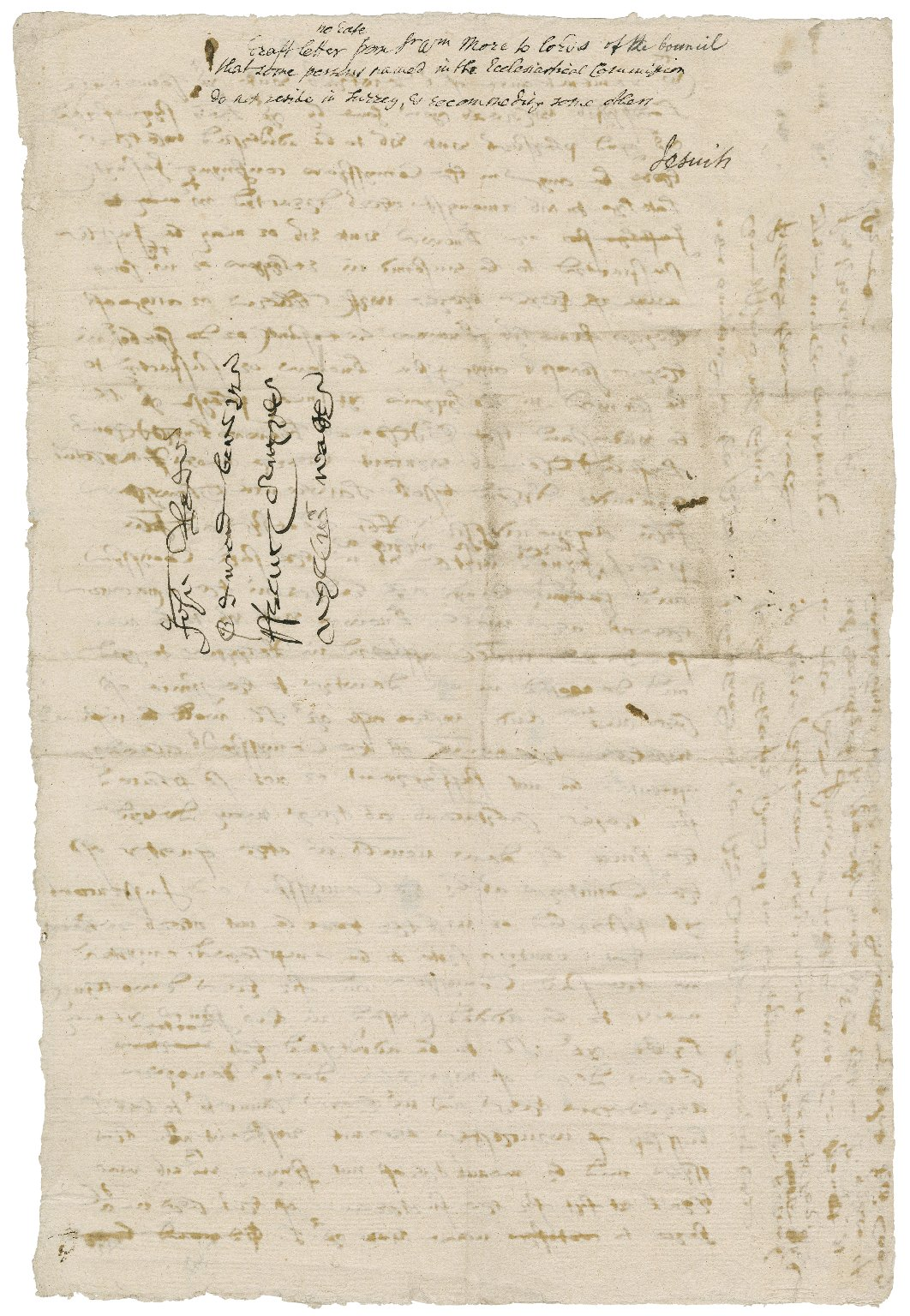 More, Sir William. Autographed letter. To the Privy Council.