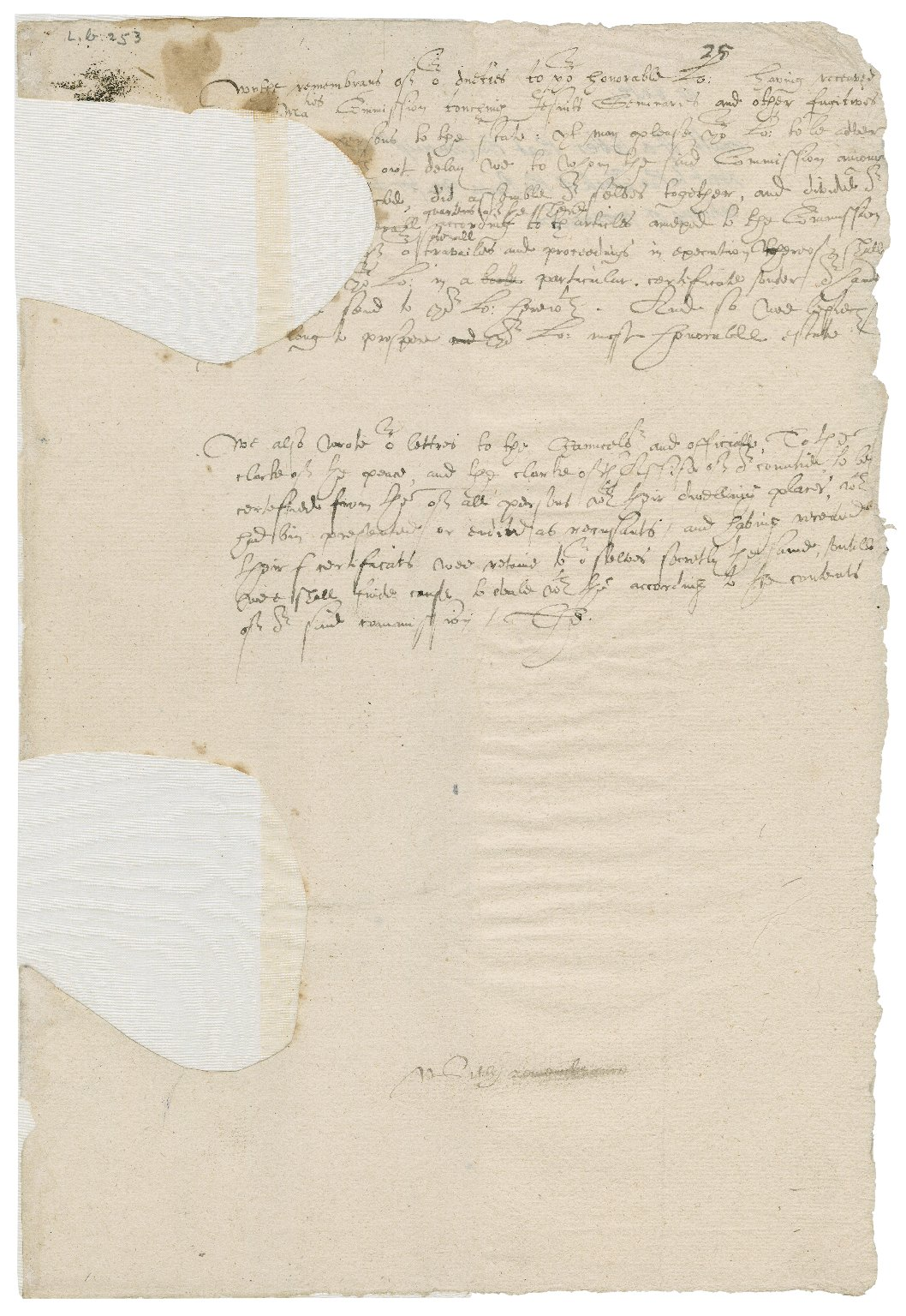 Surrey, England. Commission concerning Jesuits, seminaries, and recusants. Letter. To the Privy Council.