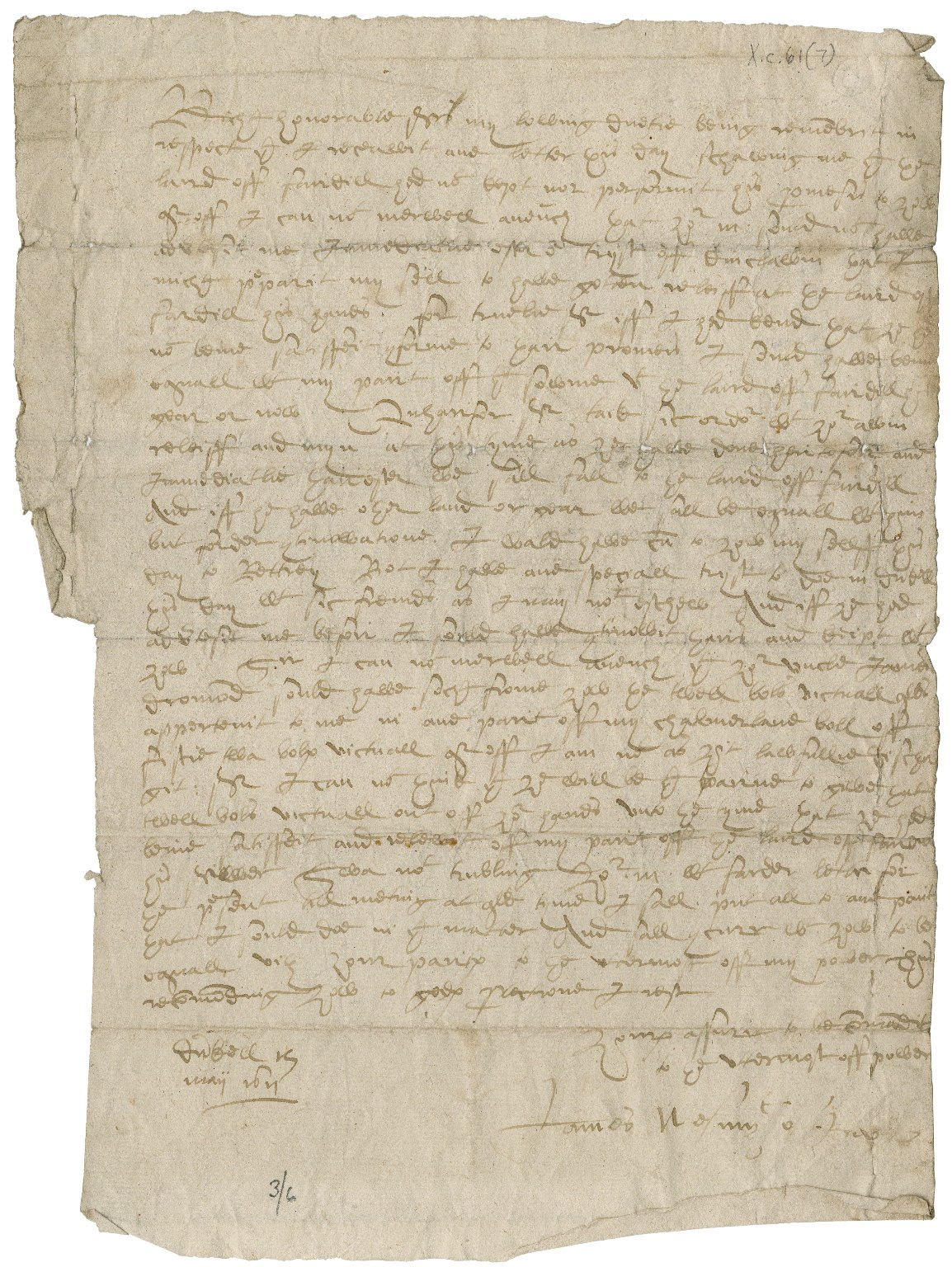 Letter from James Nasmyth of Inver to Sylvester Rattray of Craighall, Dunkeld