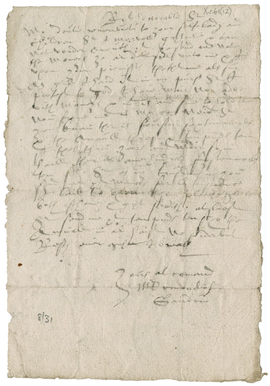 Letter from M. Ormond of Gairdine to David Rattray of Craighall