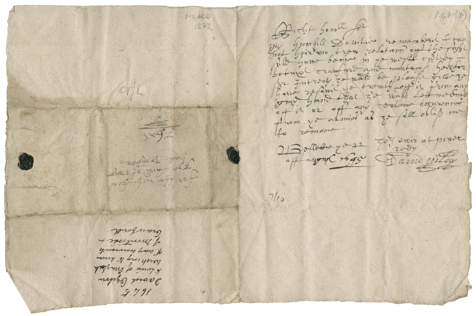 Letter from David Ogilvy of Bellettie to Patrick Rattray, younger of Craighall, Bellettie