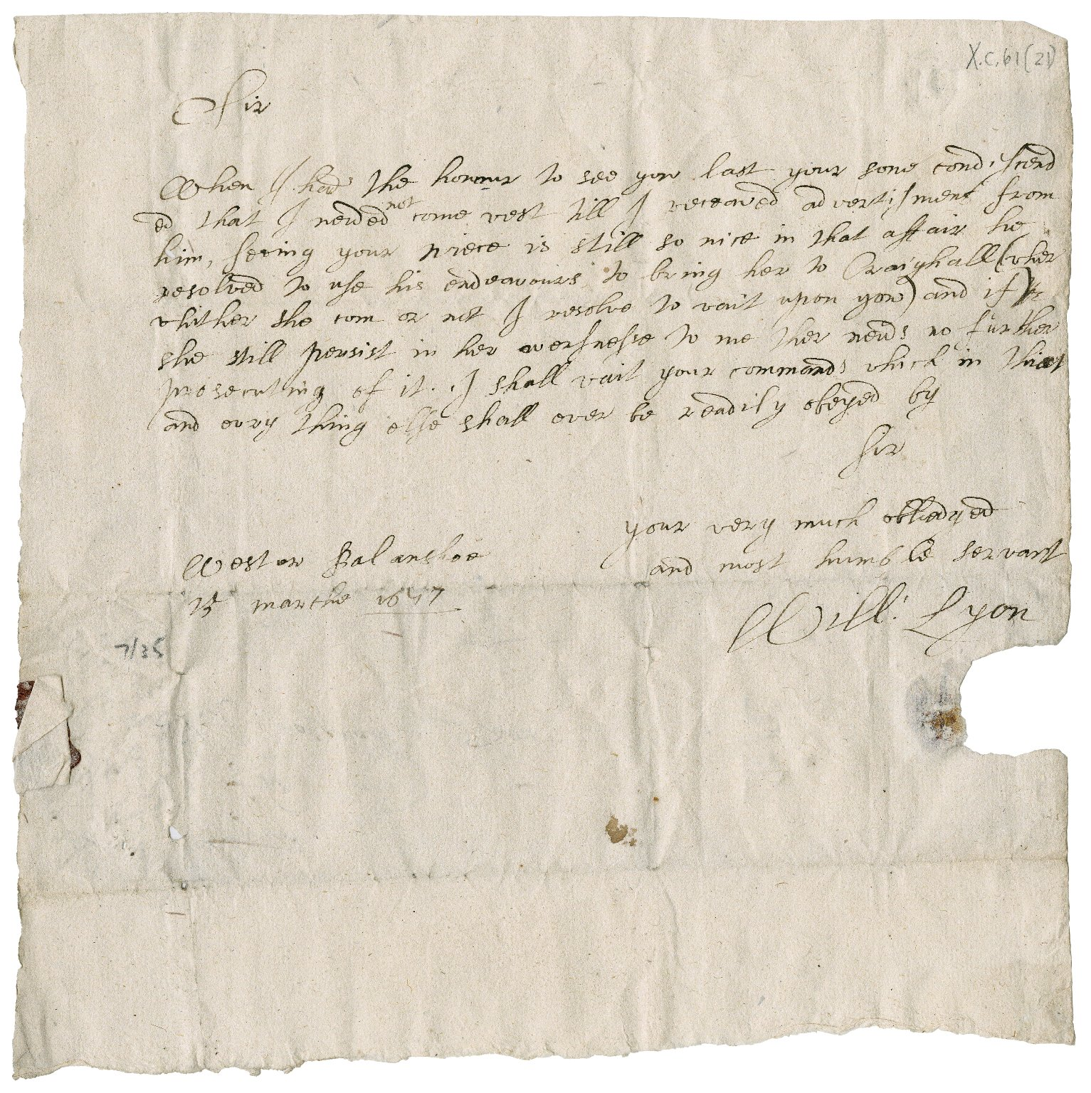 Letter from William Lyon to David Rattray of Craighall, Wester Balinshoe