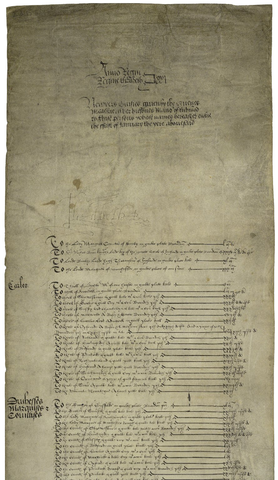 New Year's gift roll of Elizabeth I, Queen of England [manuscript], 1578/9 January 1.