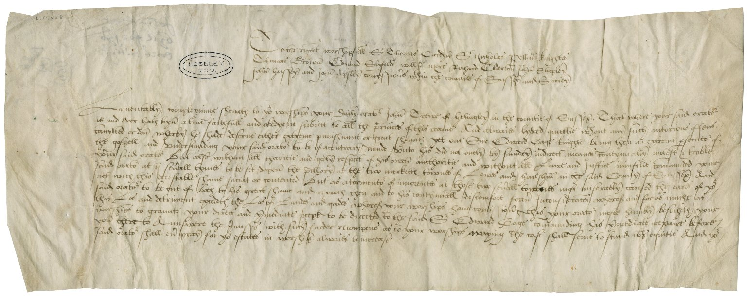 Trewe, John. Petition to the commissioners of the peace for Surrey and Sussex.