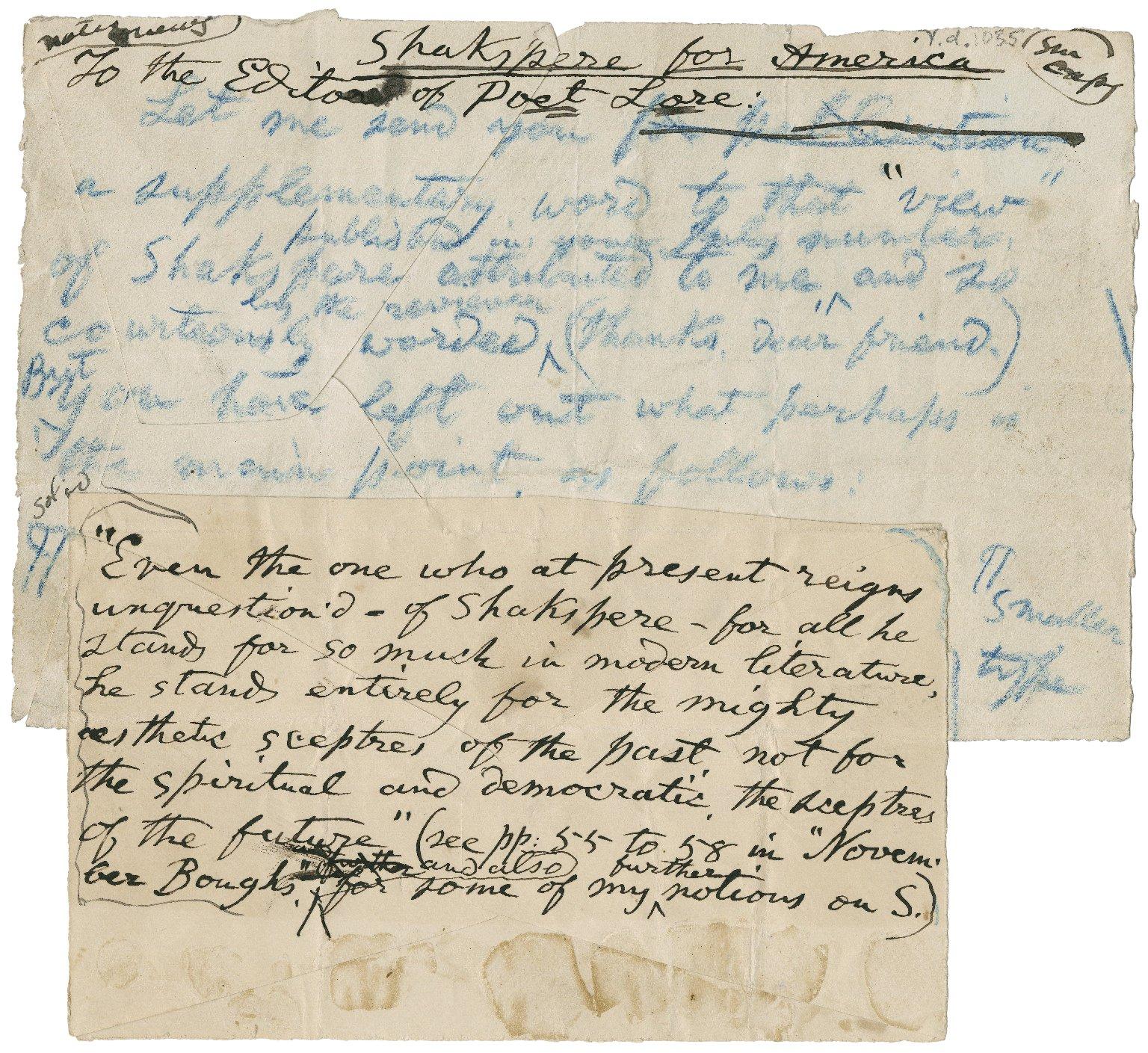 Shakspere for America [manuscript], 1890.