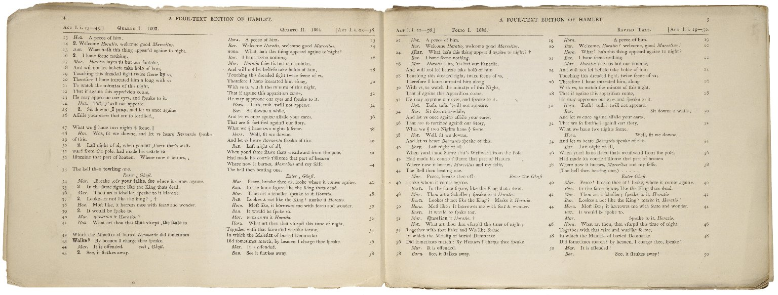 [Hamlet] A four-text edition of Shakspere's Hamlet : 1. quarto 1, 1603 -- 2. quarto 2, 1604 -- 3. folio 1, 1623 -- 4. a revized text : in parallel columns / edited by Teena Rochfort Smith.