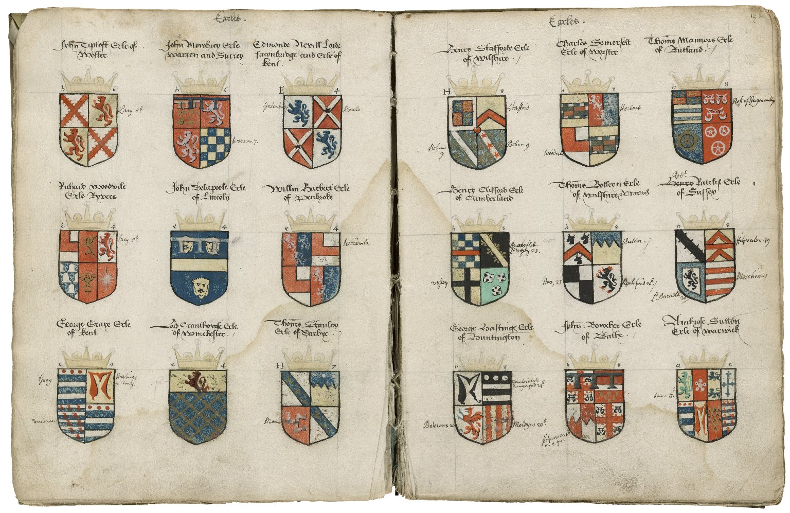 The arms of the nobility and the dates of their creations [manuscript], ca. 1572.