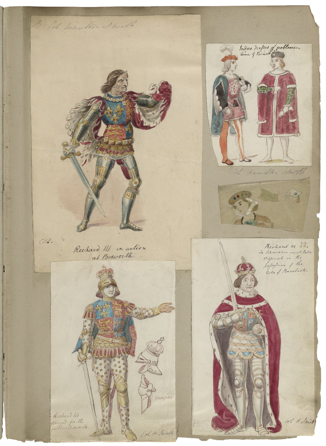 [A collection of watercolor drawings and tracings of theatrical costume, arms, banners, shields, etc., drawn especially for Charles Kean's productions at the Princess's and Haymarket theatres [graphic] / by Charles Hamilton Smith and his daughter, Emma].