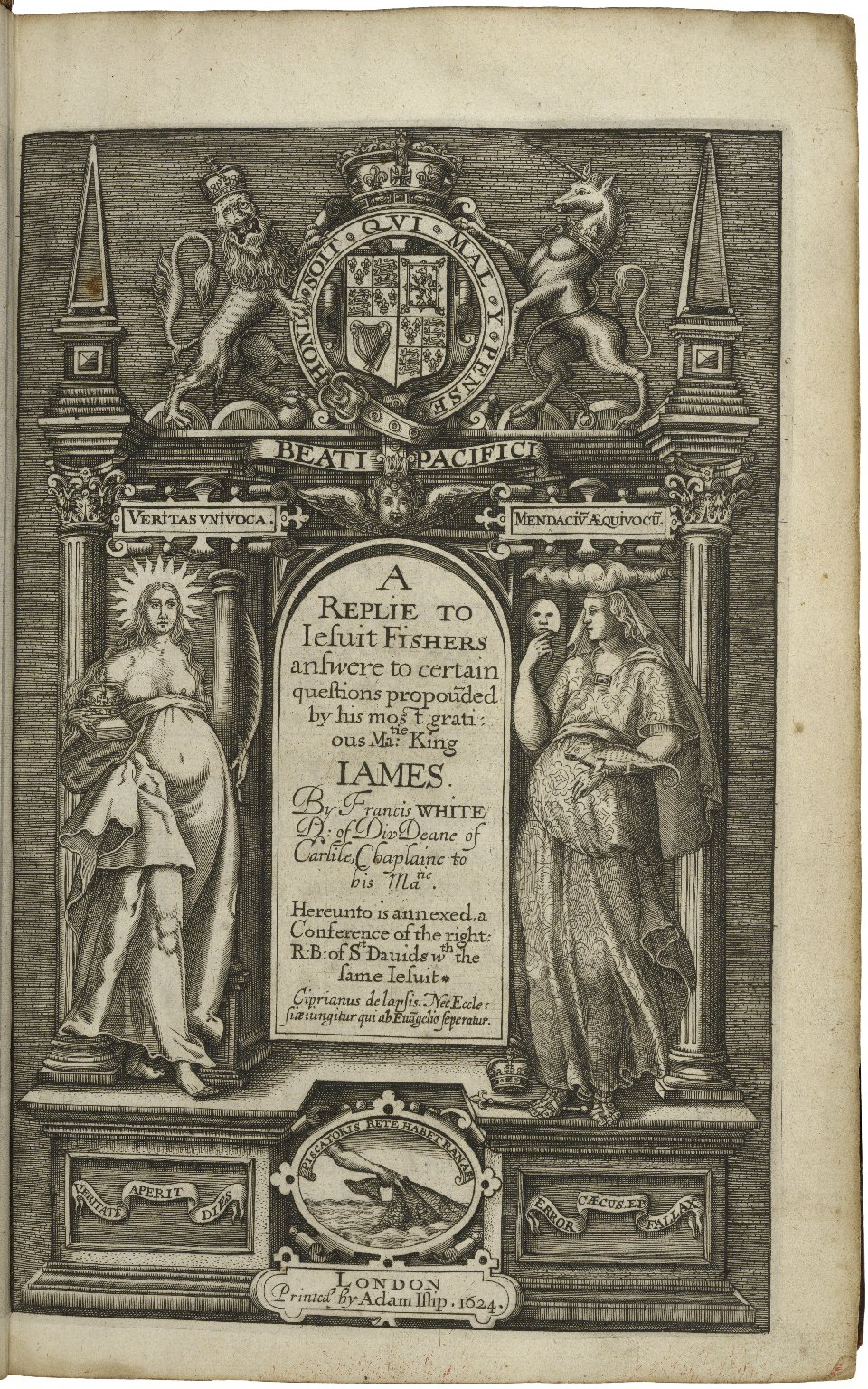 A replie to Iesuit Fishers answere to certain questions propou[n]ded by his most gratious Matie: King Iames. By Francis White D: of Div· deane of Carlile, chaplaine to his Matie. Hereunto is annexed, a conference of the right: R: B: of St Dauids wth the s