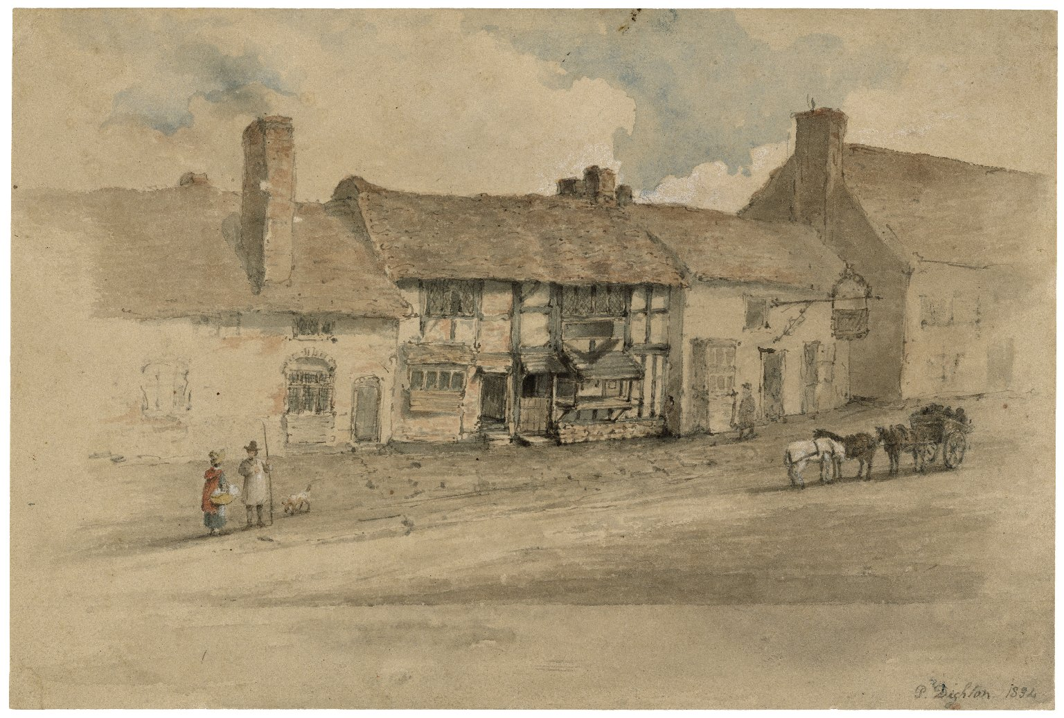 The exterior of the house and the interior of the room in which Shakespeare was born [graphic] / P. Dighton.