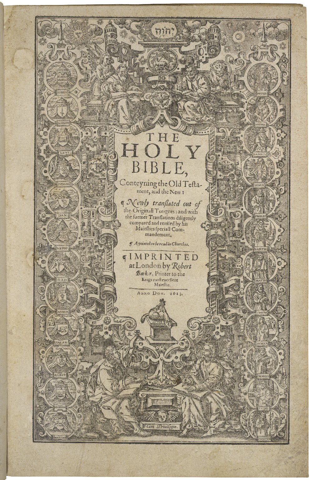 The Holy Bible, conteyning the Old Testament, and the New: newly translated out of the originall tongues: and with the former translations diligently compared and reuised by his Maiesties speciall commandement. Appointed to be read in churches.