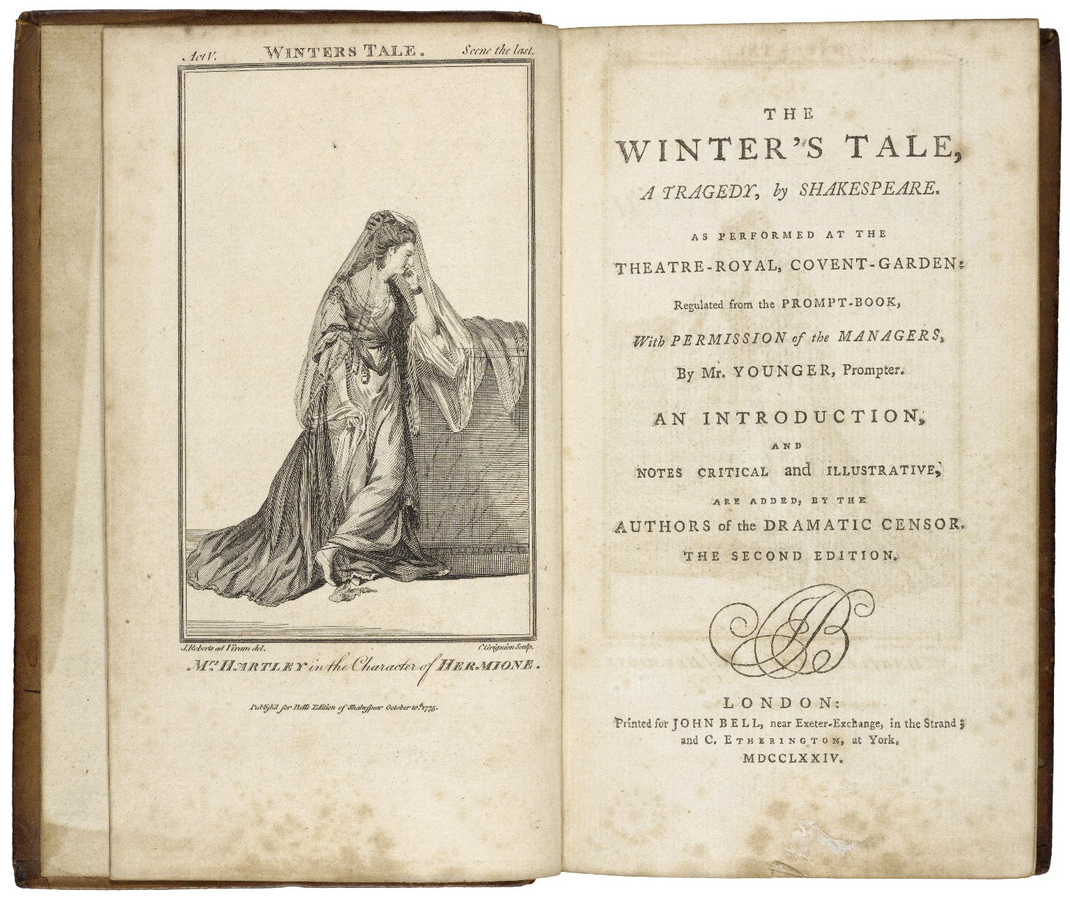 [Works. 1774. John Bell] Bell's edition of Shakespeare's plays : as they are now performed at the Theatres Royal in London : regulated from the prompt books of each house, by permission, with notes critical and illustrative / by the authors of the Dramatic censor.
