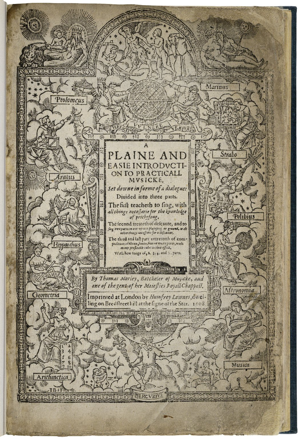 A plaine and easie introduction to practicall musicke, set downe in forme of a dialogue: diuided into three parts. The first teacheth to sing, with all things necessarie for the knowledge of pricktsong. The second treateth of descante, and to sing two par