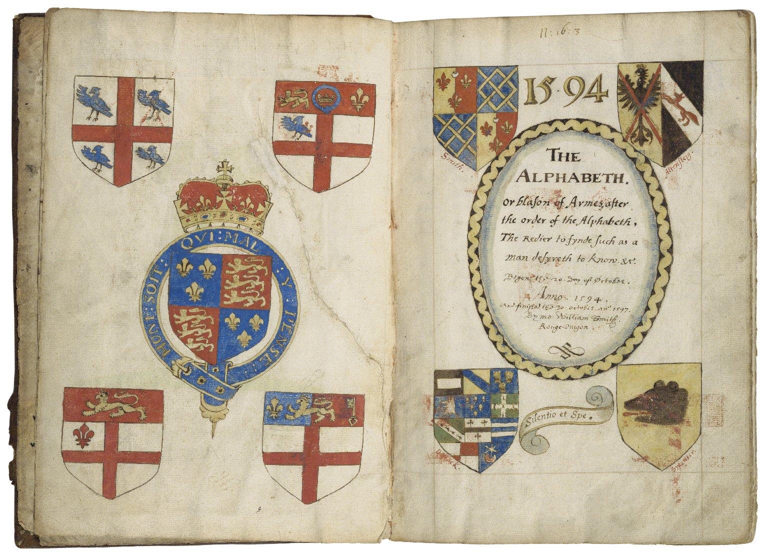 Alphabet or blazon of arms [manuscript], 1597.