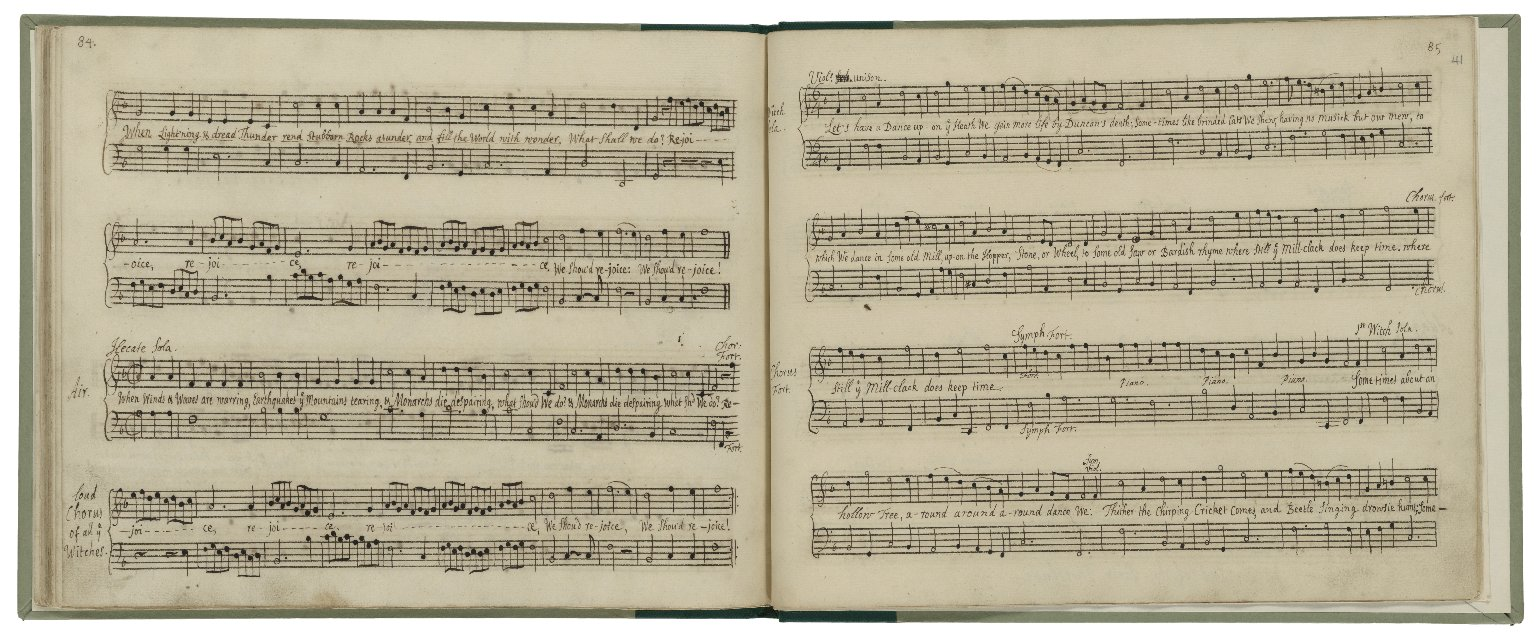 Manuscript keyboard score with a collection of songs, instrumental pieces and incidental music mostly by British composers [manuscript].