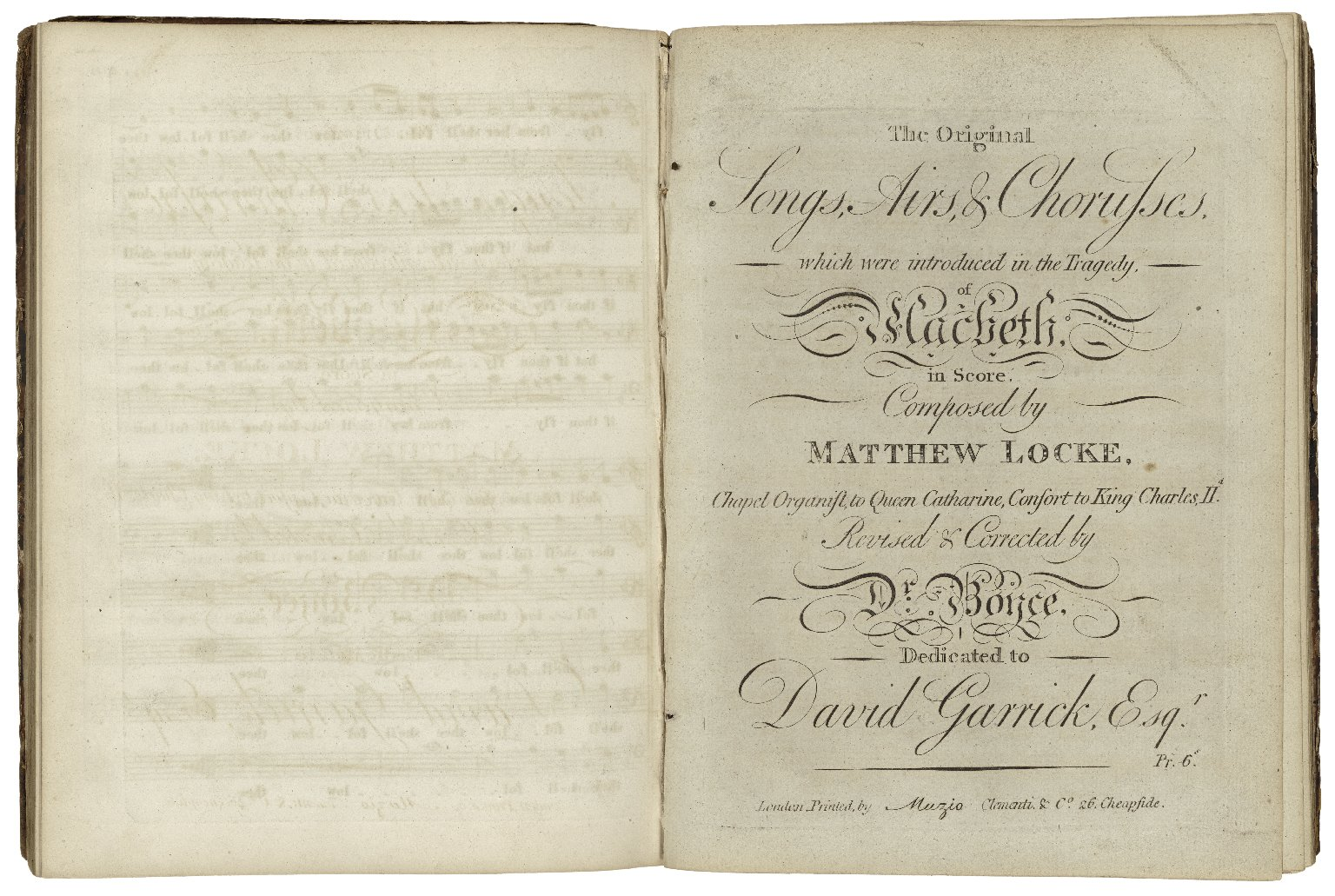 A collection of madrigals for three, four five & six voices ... || The original songs, airs, & chorusses which were introduced in the tragedy of Macbeth ... / revised and corrected by Dr. Boyce ...