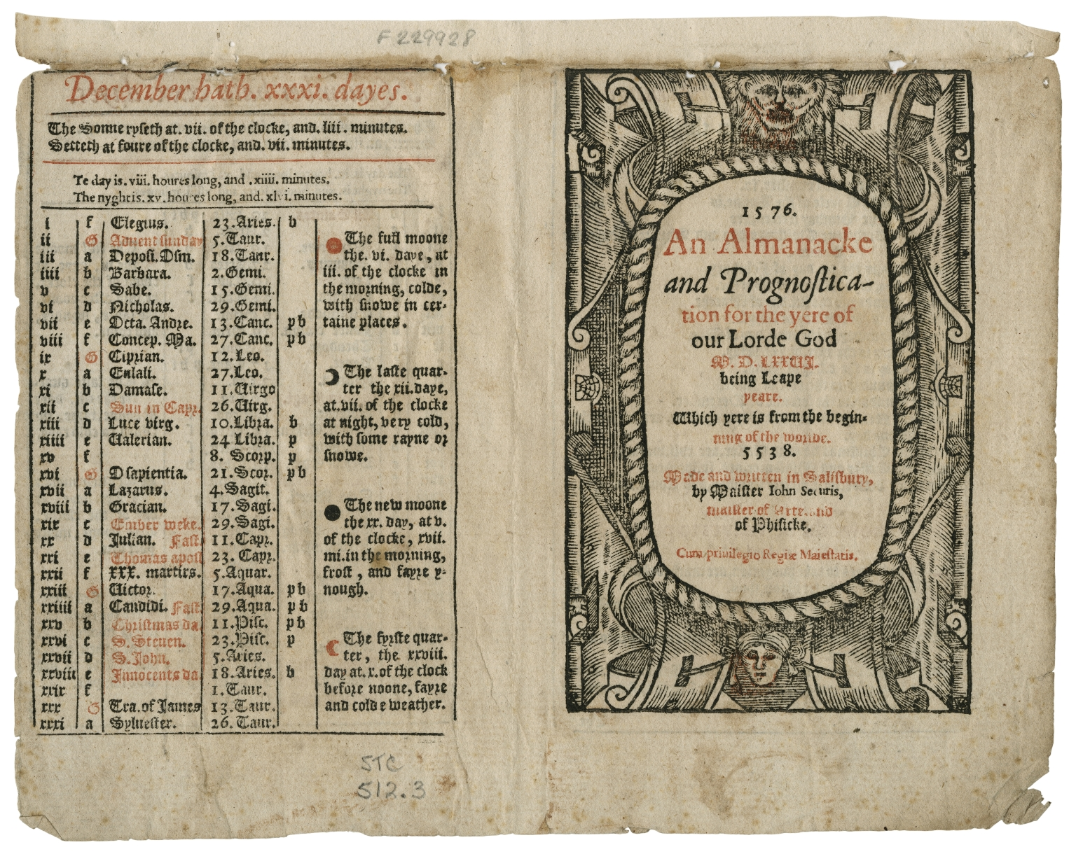 1576. An almanacke and prognostication for the yere of our Lorde God M.D.LXXVI. being leape yeare. : Which yere is from the beginning of the worlde. 5538. Made and written in Salisbury, by maister Iohn Securis, maister of Arte and of Phisicke.