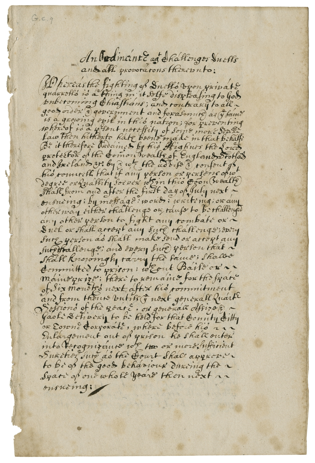 Copy of an ordinance against challenges, duels, and all provocations thereunto, ca. 1650 [manuscript], 17th century.