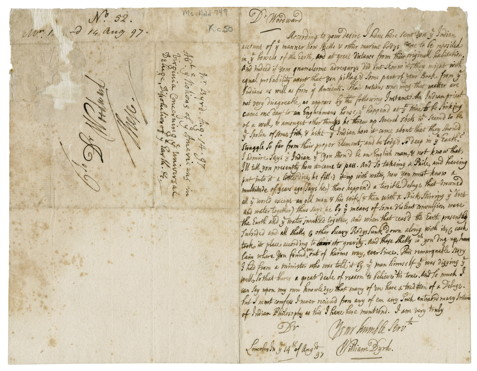 Autograph letter signed from William Byrd, Lincoln�s Inn, London, to Dr. [John] Woodward