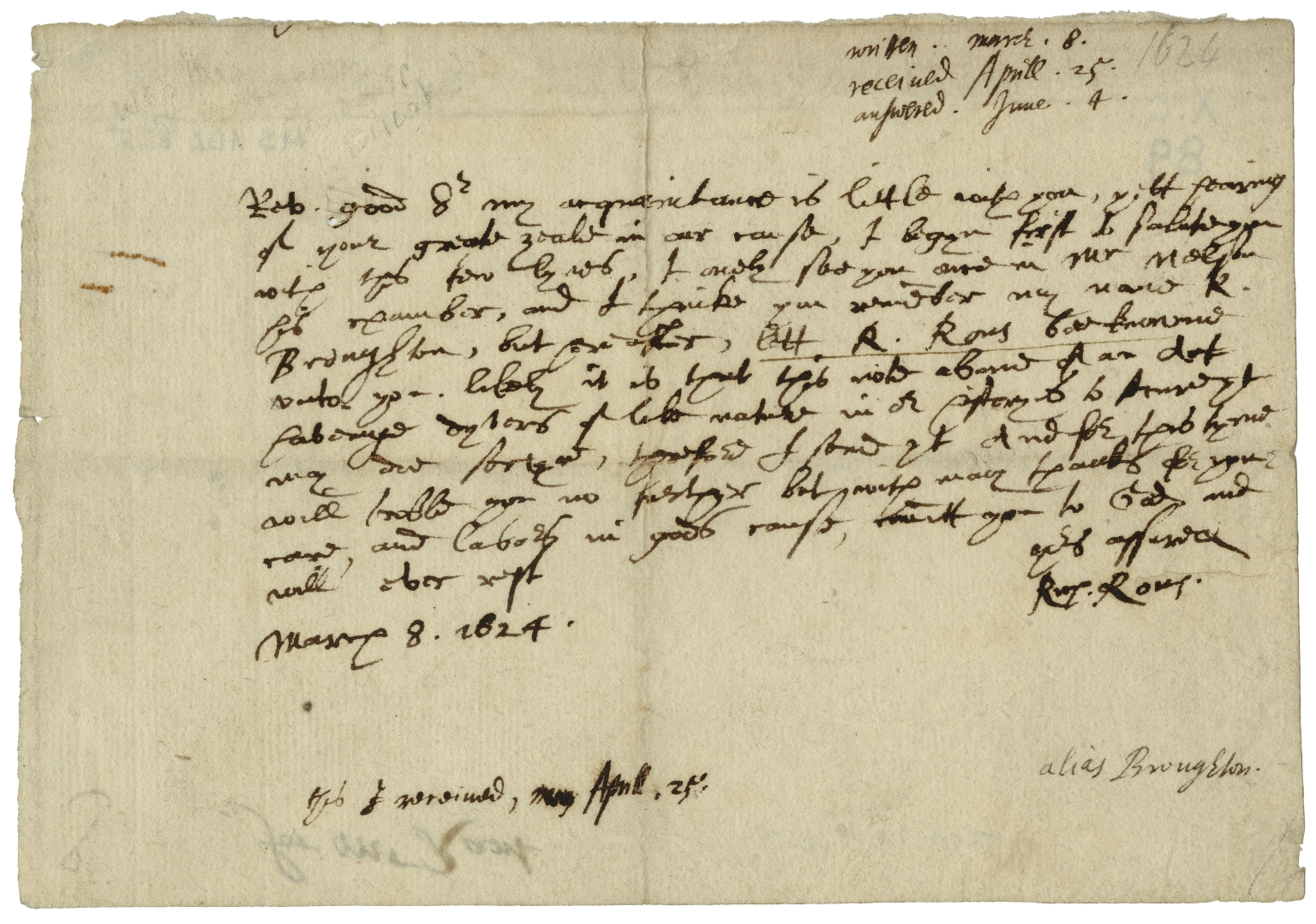Autograph letter signed from Richard Rouse to Mr. Rant