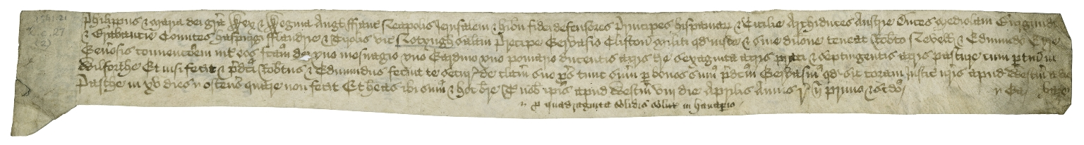 Writ of covenant from the Court of Chancery to the sheriff of Nottinghamshire Manuscript on vellum