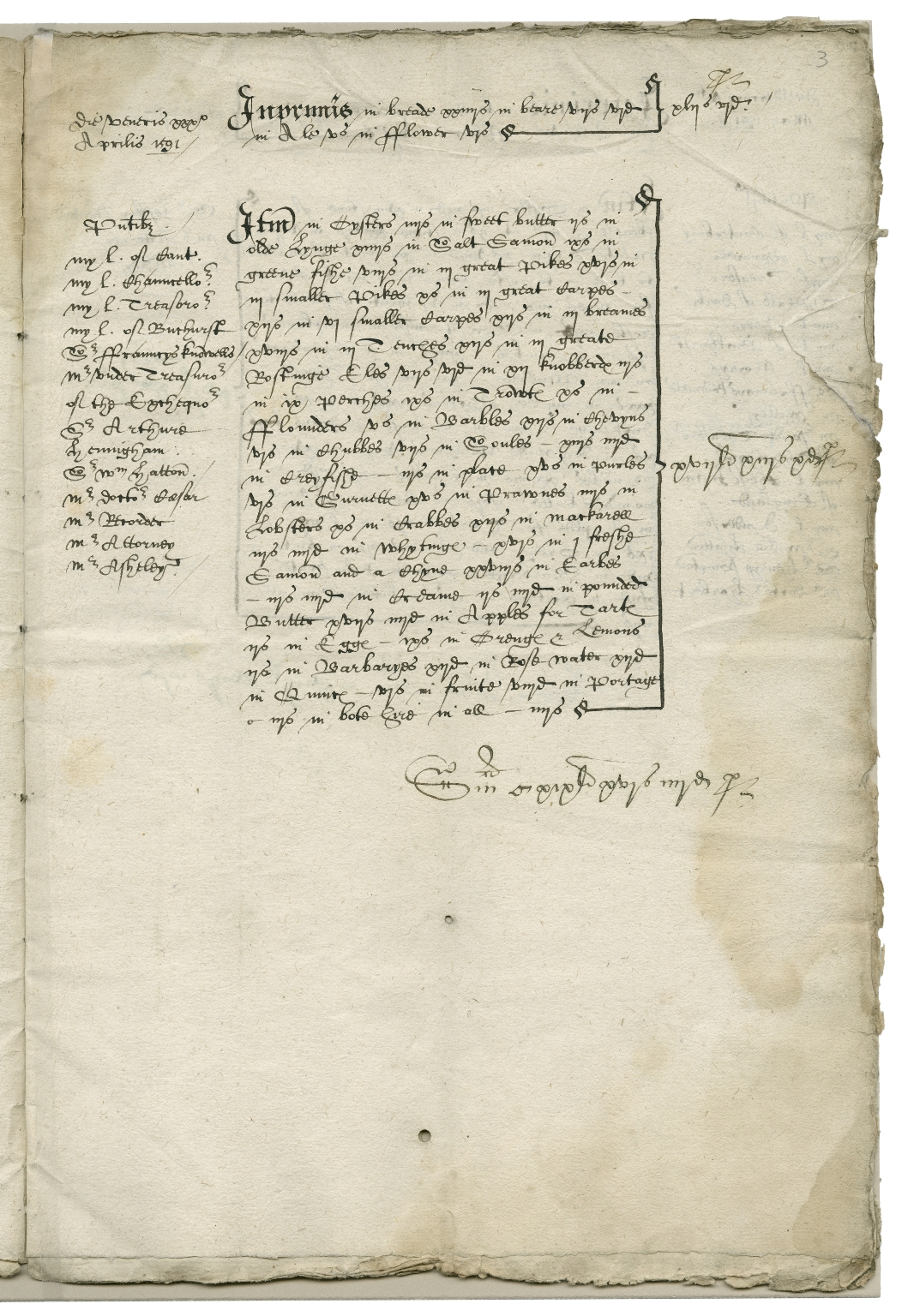 Expenses of the diet provided to Court of Star Chamber during Easter term signed by Sir Christopher Hatton and Lord Burghley [manuscript]