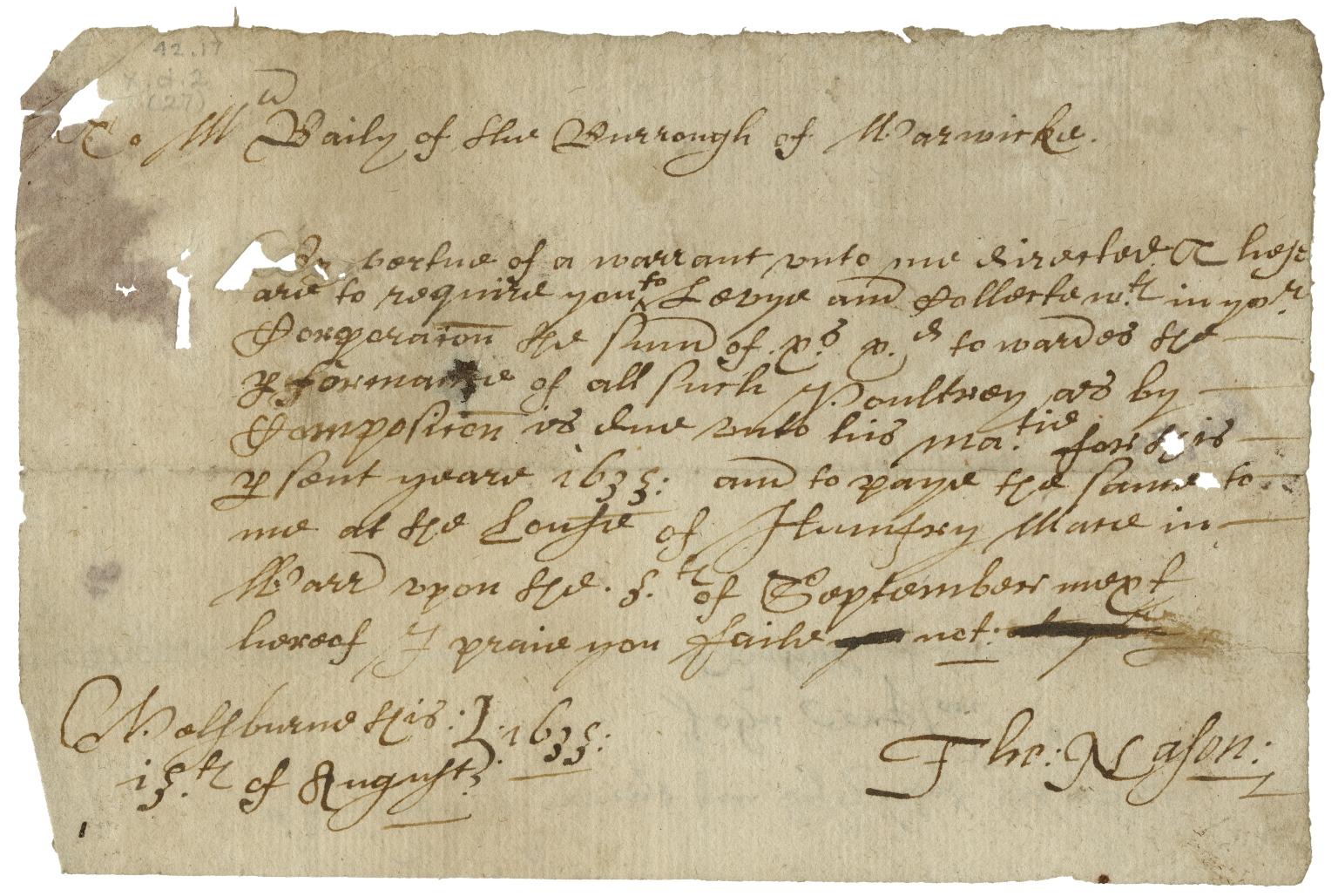 Accounts and bills of Warwick