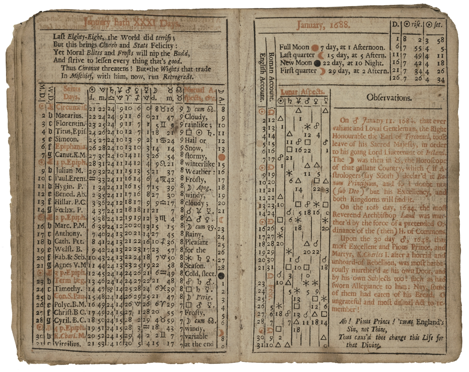 Ephemeris: or, A diary astronomical, astrological, meteorological, for the year of our Lord, 1688. It being the bissextile, or leap-year. Containing I. A compleat ephemeris in both accounts. II. The several luminarian eclipses. III. The solar quarterly ingresses. IV. Some modest astrological pr�dictions. Cum multis aliis, &c. By Jonh [sic] Gadbury, student in physick and astrology. Cum privilegio & gratia Regi� Majestatis.