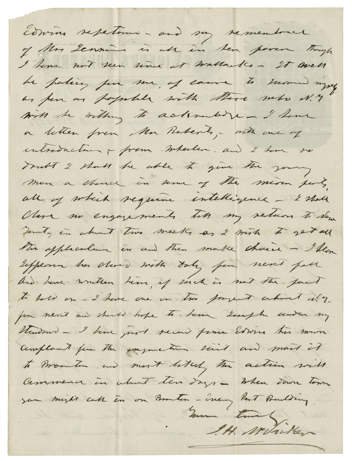 Autograph letters signed from J.H. McVicker to William Winter