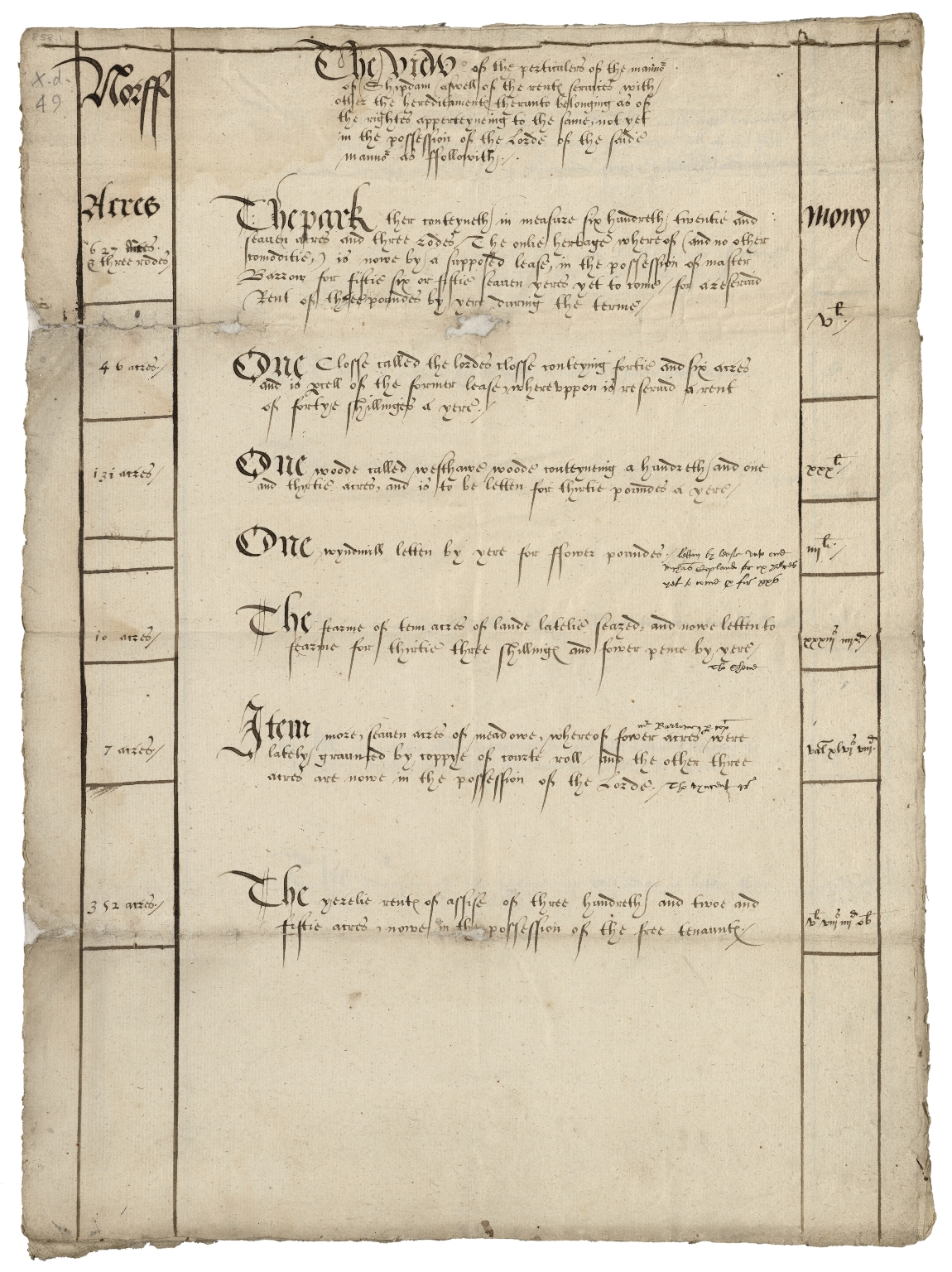 Particular of Shipdham Manor, Norfolk, and the rents and services due to the Lord