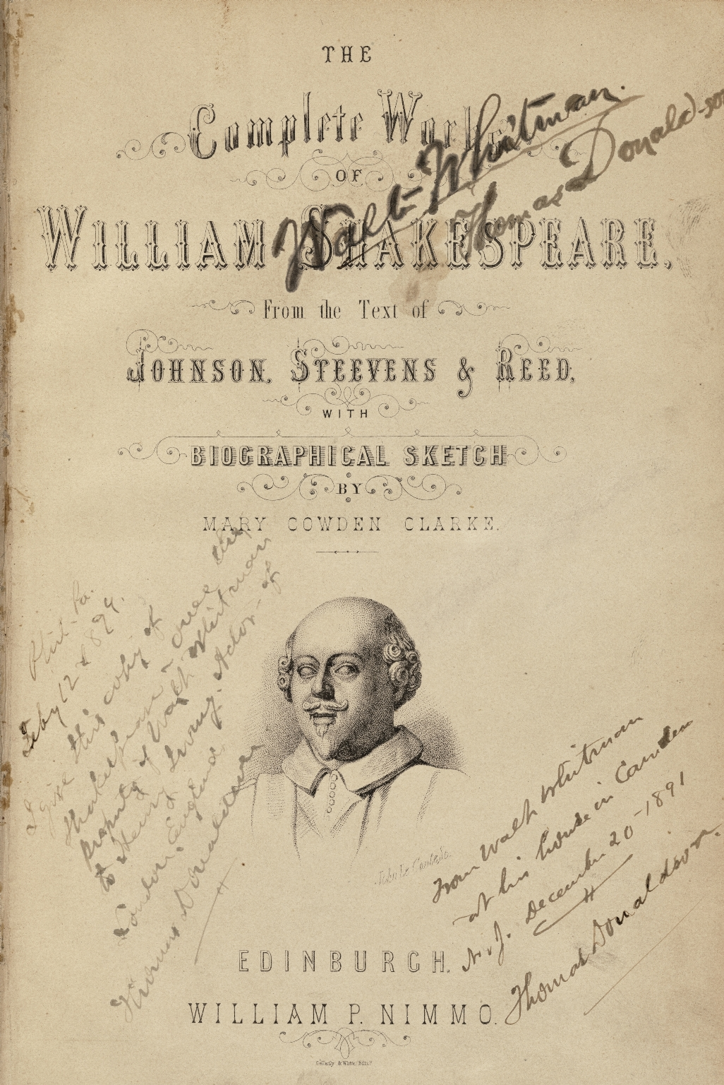 [Works. 1868. W.P. Nimmo] The complete works of William Shakespeare : from the text of Johnson, Steevens & Reed : with biographical sketch / by Mary Cowden Clarke.