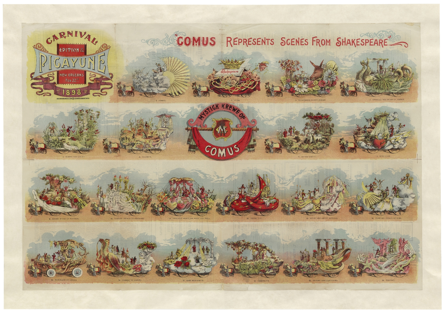 Mardi Gras poster, featuring twenty Mystick Krewe of Comus floats representing a total of eighteen Shakespeare plays. [graphic]