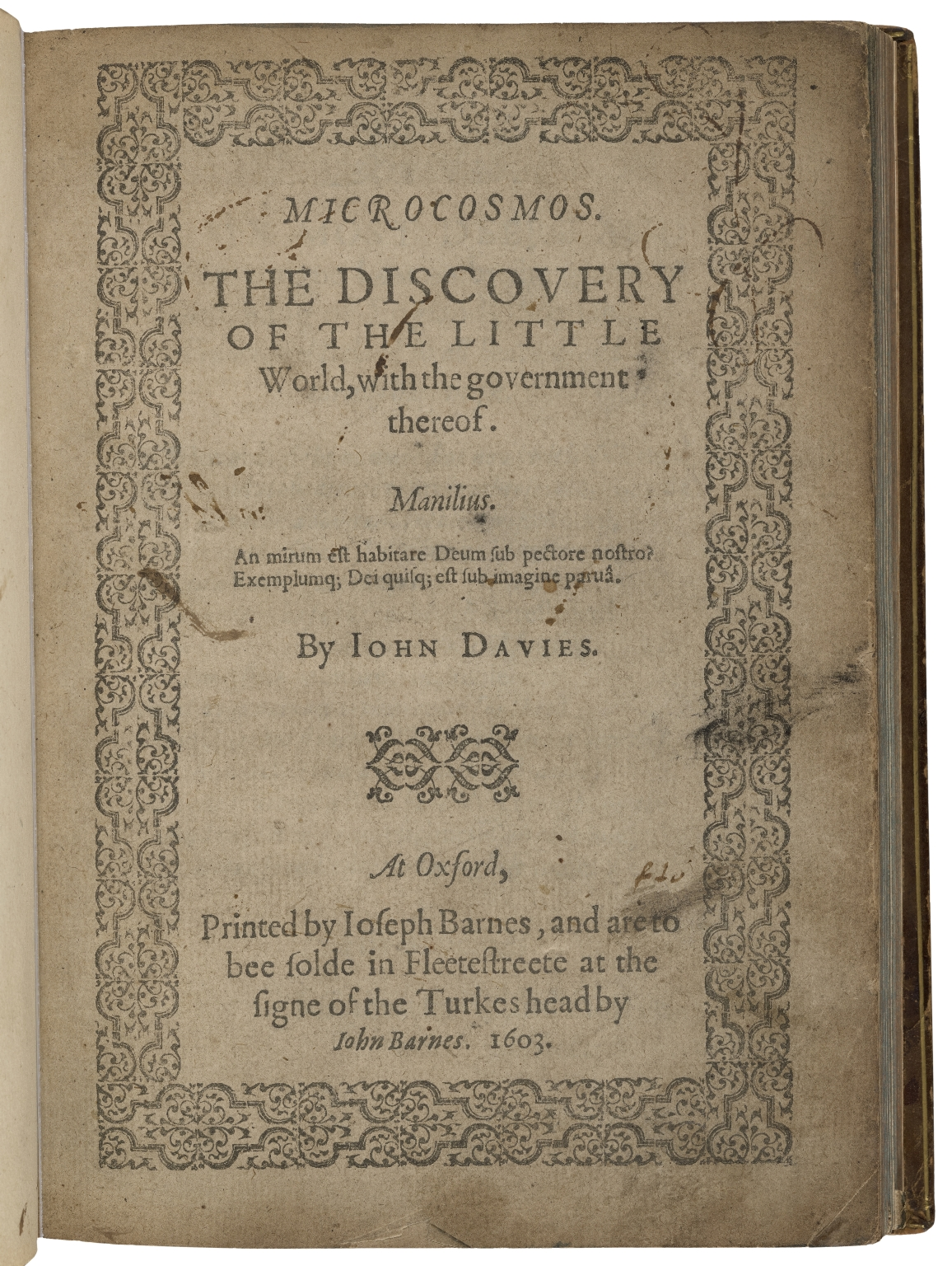 Microcosmos. The discovery of the little world, with the government thereof. By Iohn Davies.