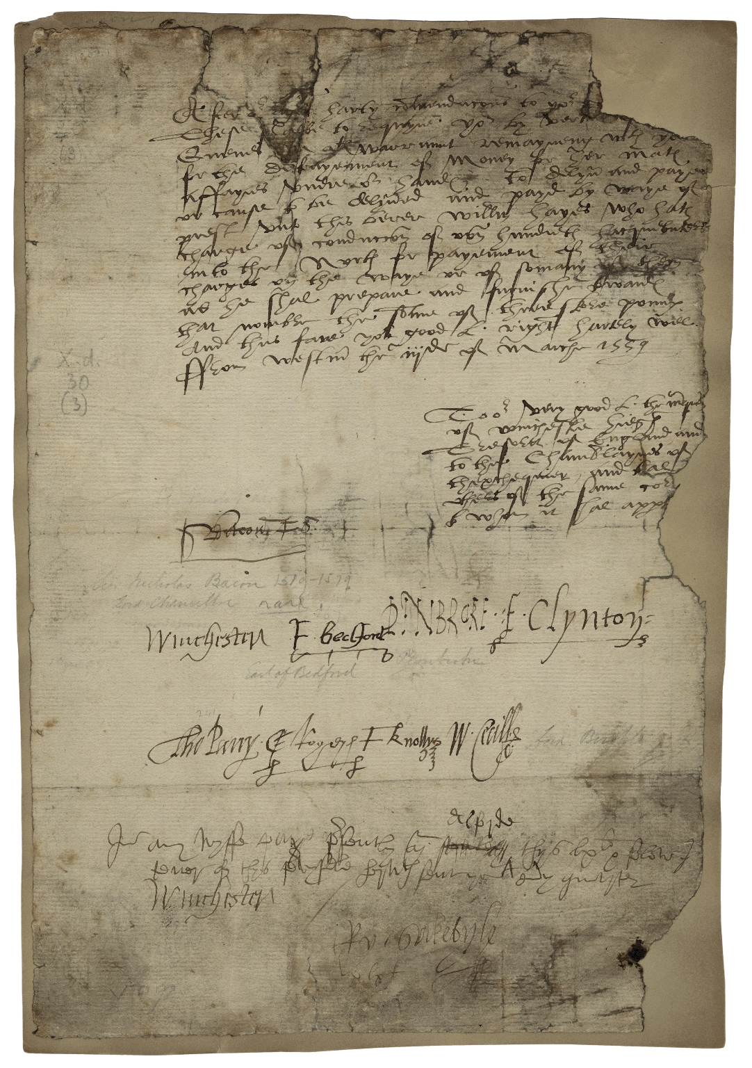 Letter signed from the Privy Council, Westminster, to William Paulet, Marquis of Winchester, High Treasurer of England, the Chamberlains of the Exchequer, and others of the same court