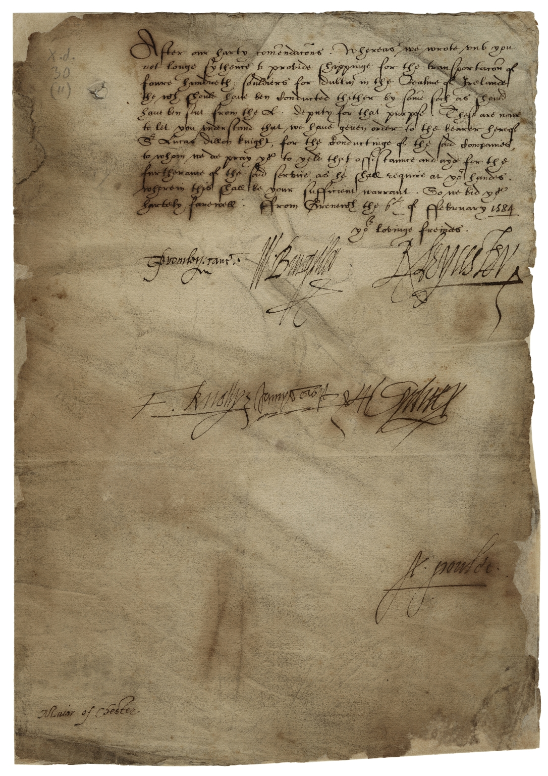 Letter signed from the Privy Council, Greenwich, to the mayor and brethren of Chester
