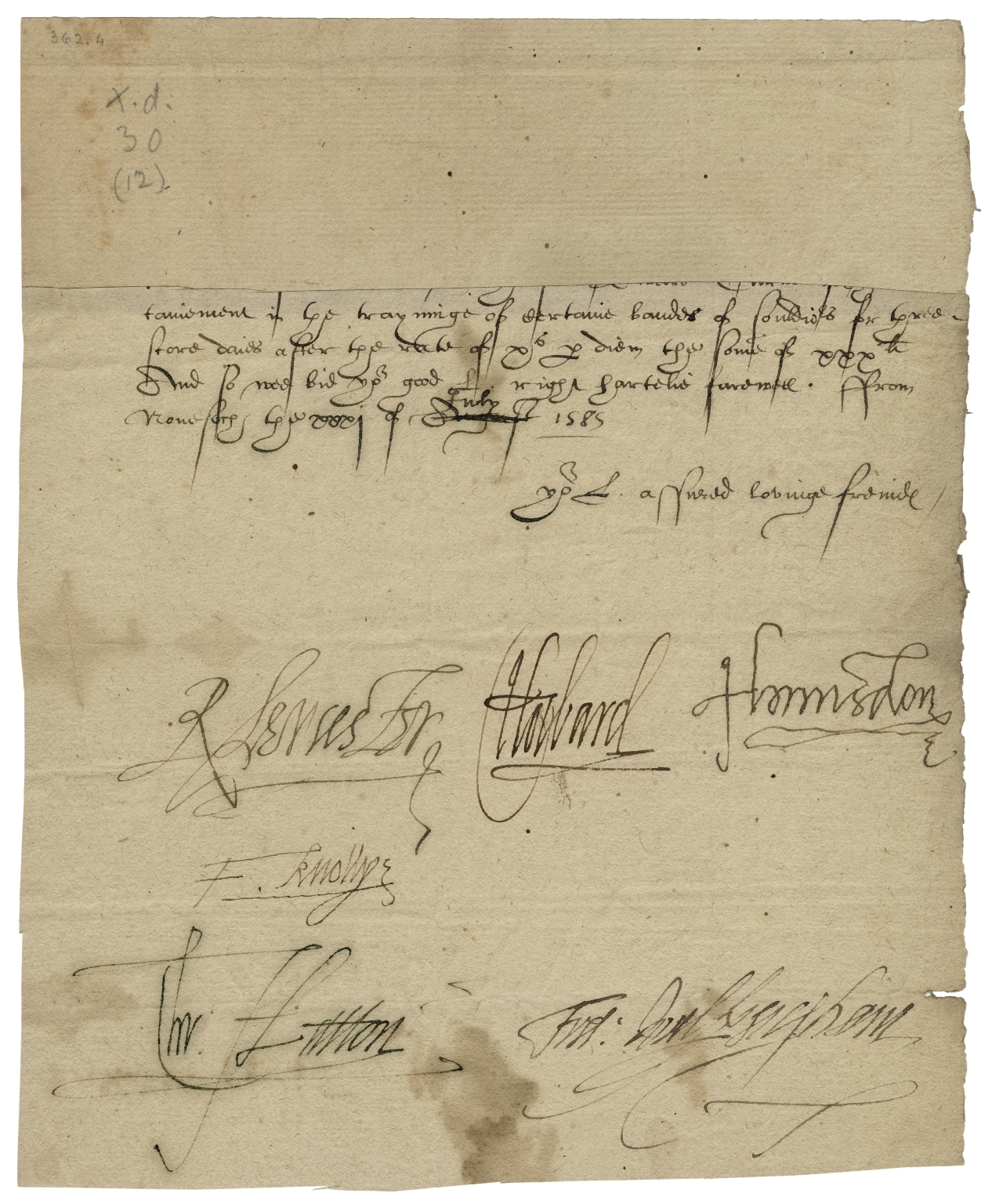 Letter signed from the Privy Council, Nonesuch, to unidentified recipient : fragment