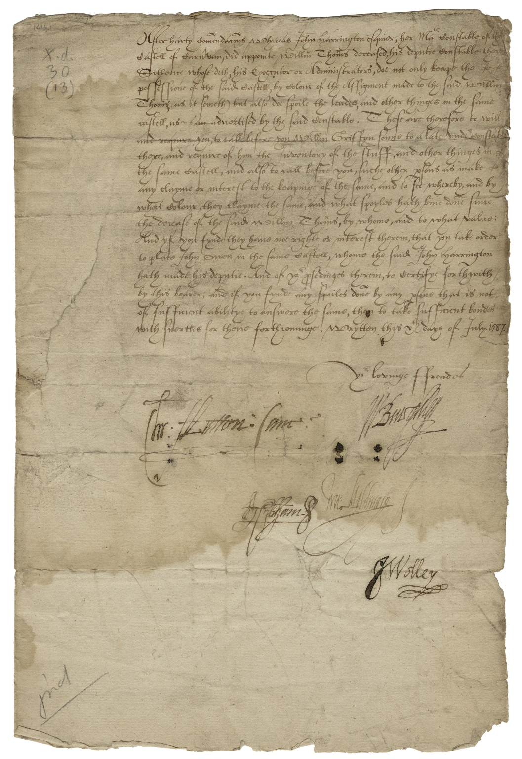 Letter signed from the Privy Council to John Leyton, Thomas Mosten, John Gwyn of Gweder?, and John Heymis?