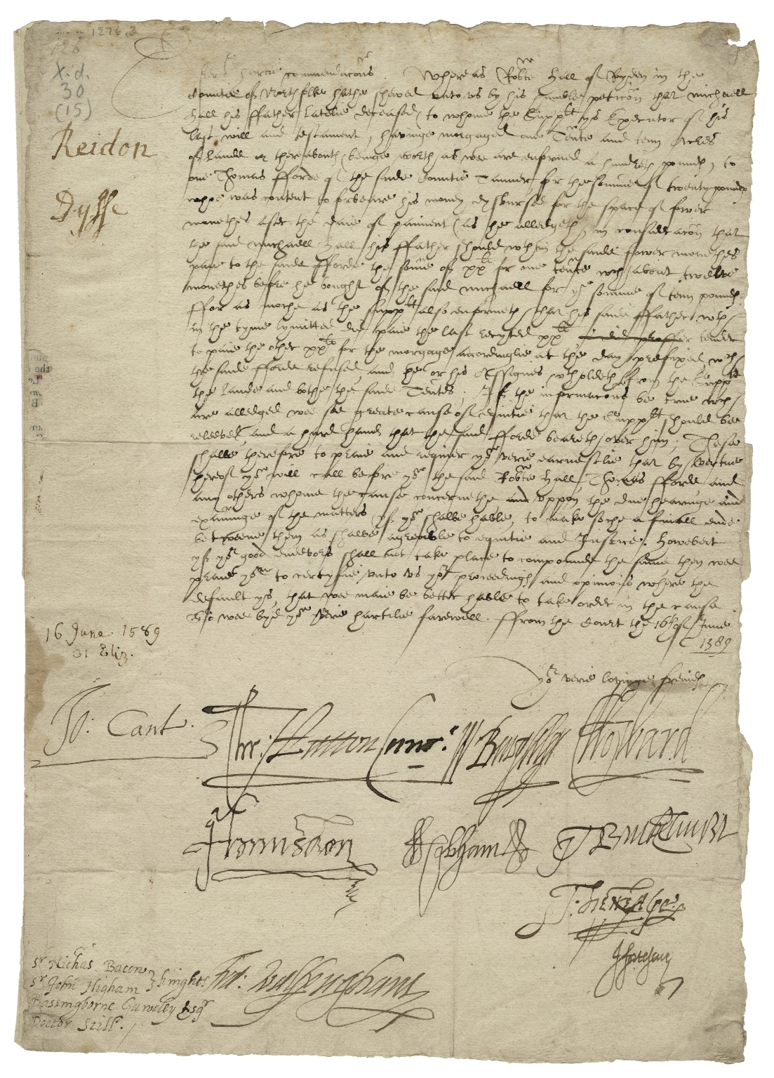 Letter signed from the Privy Council, the Court, to Sir Nicholas Bacon, Sir John Higham, Bassingbourne Gawdy, and Dr. Still