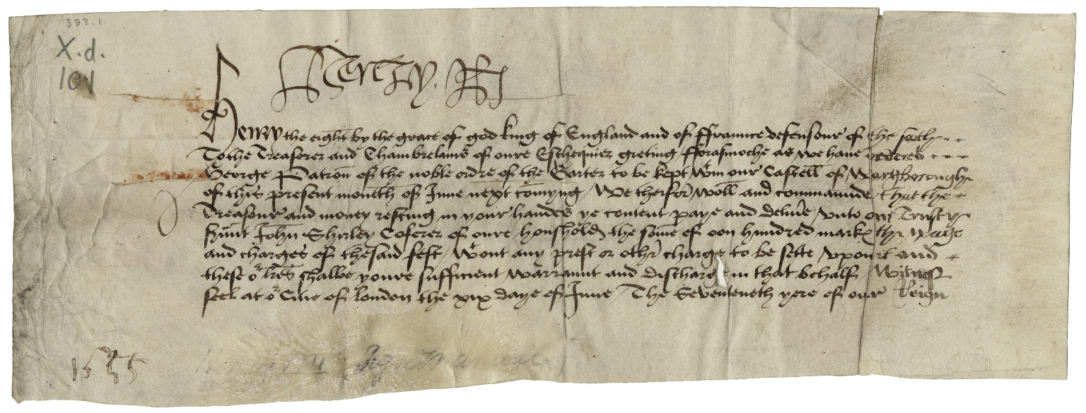 Warrant for payment signed by Henry VIII, King of England, to the Treasurer of the Exchequer