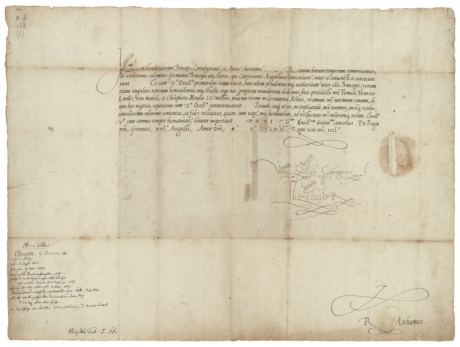 Letter signed from Elizabeth I, Queen of England, to Philip, Landgrave of Hesse
