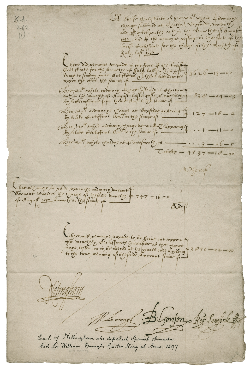 A brief certificate of Her Majesty's ordinary charge at Chatham, Deptford, Woolwich and Portsmouth