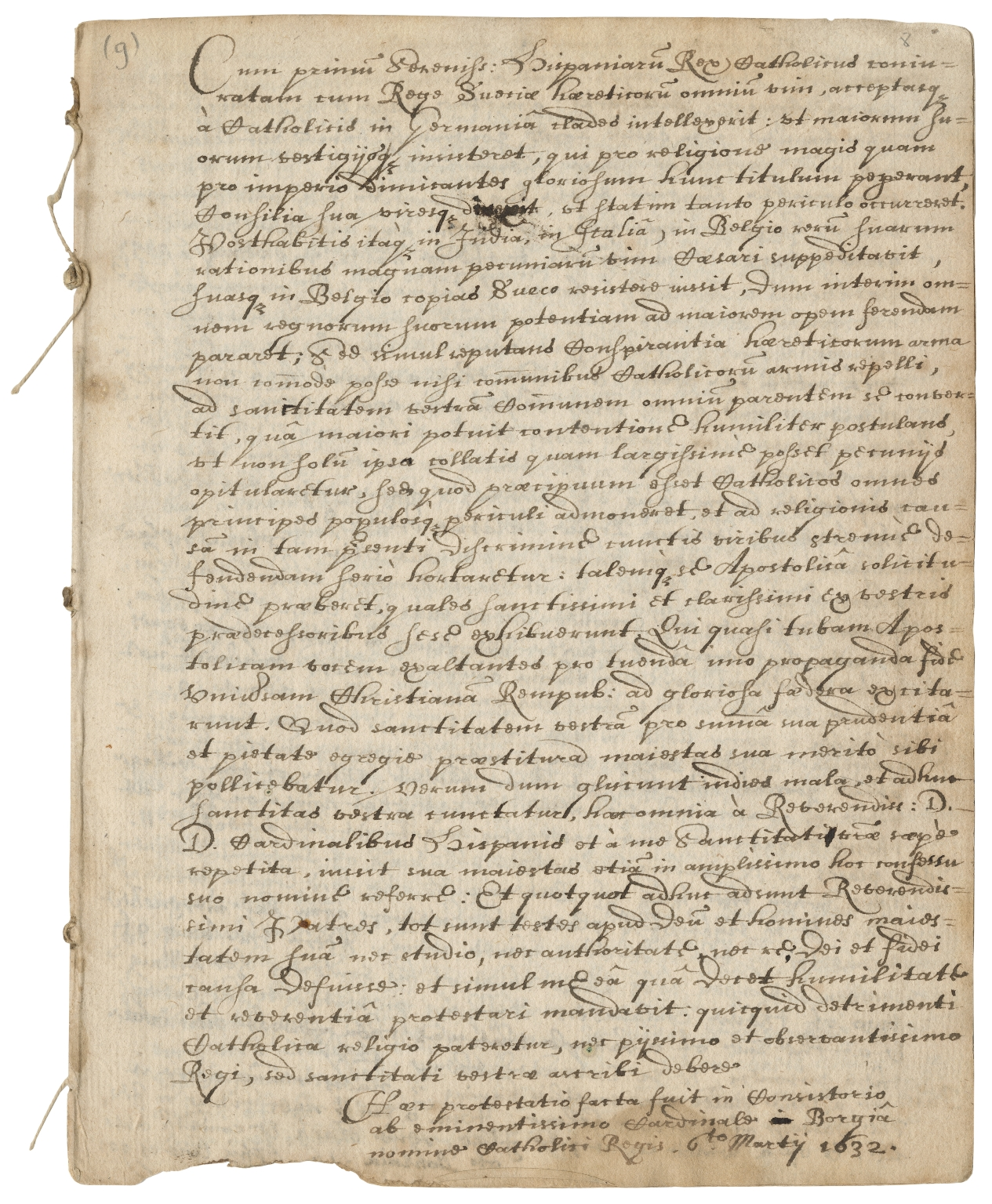 Copy of letter of protest from Gaspar de Borja, Cardinal, to Pope Urban VIII, March 6, 1632