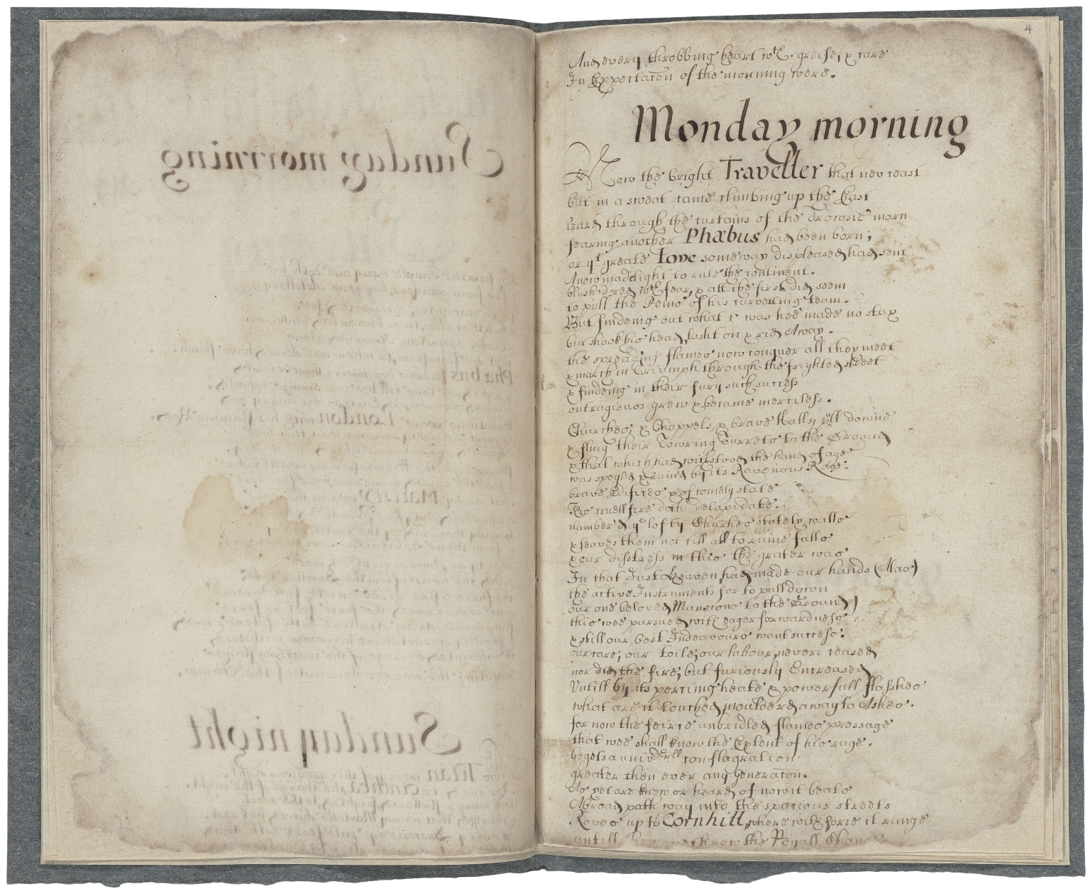 [Short and serious narrative of London's fatal fire] Copy of On the dreadfull fire of London the 2 of Sep 1665 [i.e. 1666] [manuscript], 1681.