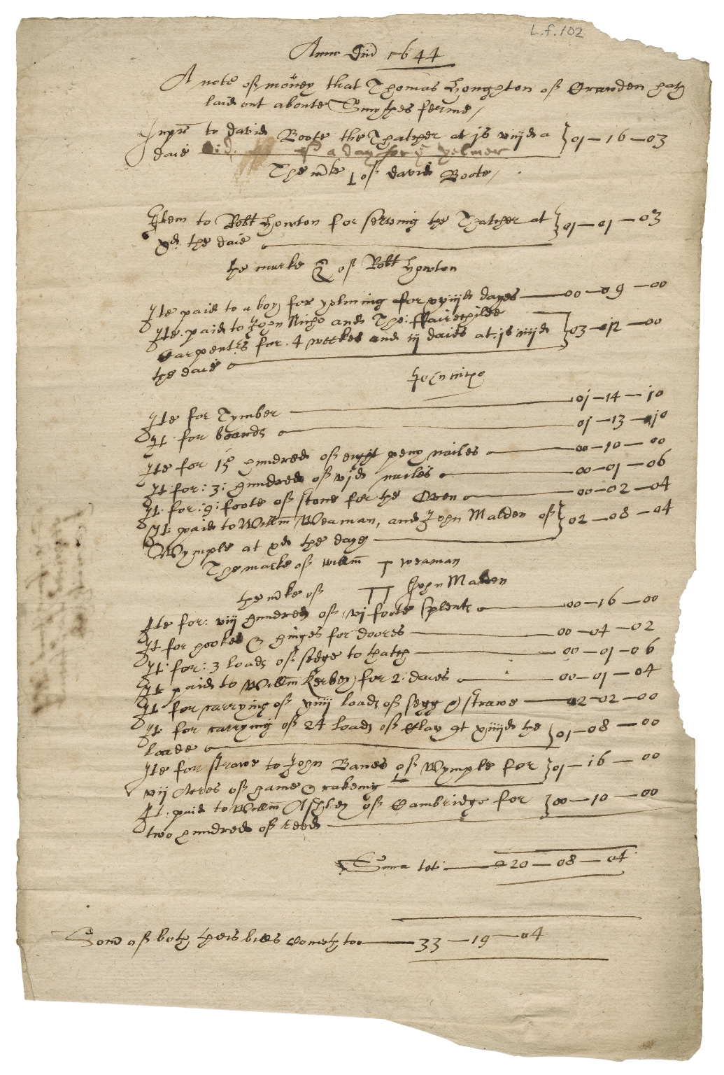 Bill for repairs for Smith's farm from Thomas Houghton of Croydon, Cambridgeshire